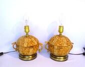 VINTAGE BASKET LAMPS/ Pair