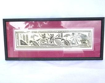 Vintage TIKI Linoleum BLOCK PRINT
