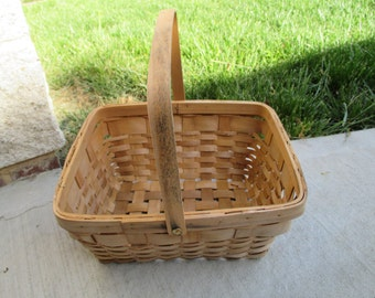 Vintage Woven Basket With Handle
