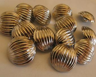 "14 Silver Half Ball Medium Round Shank Buttons Size 13/16"""