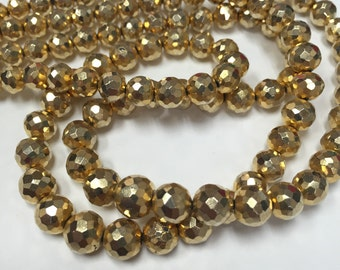 Gold Pyrite Faceted Rounds-Graduated