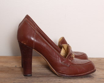Vintage loafer heels, 70s stacked Heels, Oxford Shoes, Heeled Oxfords, Loafer pumps