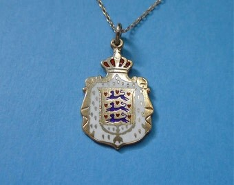 Sterling Vermeil Denmark Coat-of-Arms Enamel Pendant (No. 1356)