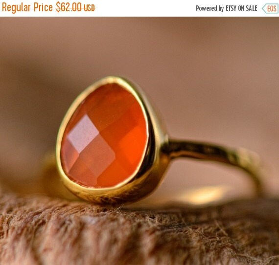 40 OFF - Orange Carnelian Ring Gold - Solitaire Gemstone Ring - Stacking Ring - Gold Ring - Tear Drop Ring - Gift for Her