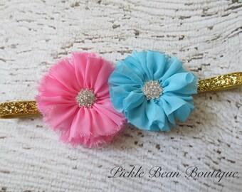 Pink Blue Gold Girls Headband, Flower Headband, Baby Headband, 1st Birthday Headband, Gold Head Band
