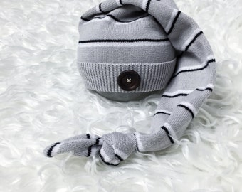 Gray, black, white, striped prop hat, Newborn photography props, newborn baby hat