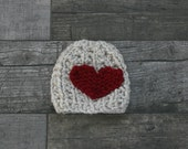 Valentine's Baby Chunky Heart Hat with Ribbed Texture in Wheat//Photo Prop//Bringing Home Baby//