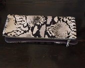 Snake Print Leather Clutch   (cow hair)