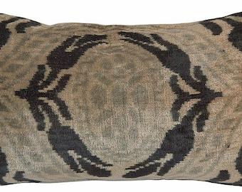 ikat tribal vintage silk velvet pillow with down insert