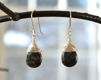 Black Jasper Earring, Teardrop Earrings, Wire Wrapped Earrings, Black Stone Earrings