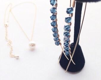Navy Blue Earrings, Blue Crystal Earrings, Gold Navy Earrings, Blue Crystal Jewelry, Modern Jewelry, Statement Earrings