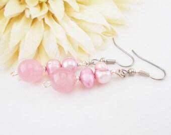 Light Pink Pearl Earrings, Boho Bridal Agate Stone Earrings, Bridesmaids Gift, Blush Pink Wedding Jewelry, Clip On Earrings, Girlfriend Gift