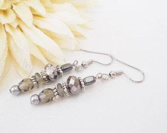 Gray Beaded Earrings, Boho Earrings, Pearl Drop Earrings, Silver Gray Earrings, Nickel Free Earrings, Clip On Earrings, Czech Glass Earrings