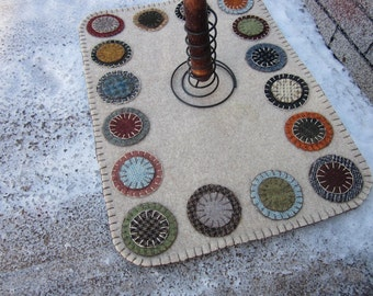 Wool penny rug, wool table runner