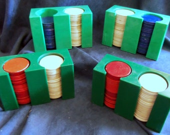 Red, White, and Blue Poker Chips in Plastic Or Bakelight Holders, Vintage