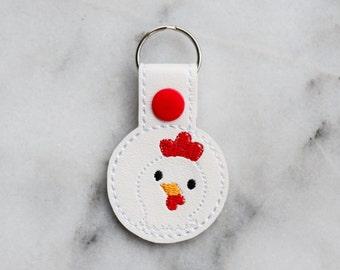 Chicken Snaptab - hen keychain