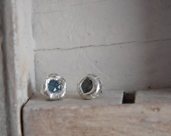 Exotic blue  natural uncut Diamonds-  Stud Earrings-post back- one of a kind organic silver