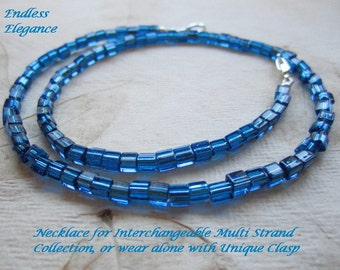 Shop Closing Sale! Sapphire Cube Necklace for Interchangeable Multi Strand Collection, transparent, silver lined blue, deep sapphire,