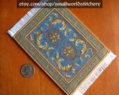 Miniature Dollhouse Carpet - Blue and Gold Floral Georgian carpet