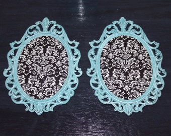 Vintage Frame - Very Ornate - Painted in Turquoise w/ Damask Fabric Backing - Shabby Chic  - Choice of 1 or 2 frames