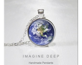 BUY 2 GET 1 FREE Earth Pendant Necklace Blue Earth High Quality Handmade Silver Copper Pendant - Awesome Earth - North America (077)