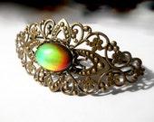 Mood Bracelet, Antique Brass Cuff, Filigree Bracelet