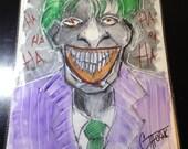 Original Ink Drawing Batman - THE JOKER -  mixed media ink / watercolor