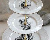 Alice in Wonderland Cake Stand, 3-Tiered, Cupcake Stand, Alice in Wonderland China, Alice Plates, Foodsafe and Durable, Lewis Carroll Dishes