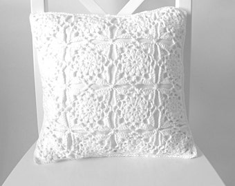 White crochet cushion cover, organic cotton cushion cover, removable cushion cover, FREE UK shipping, cushion cover crochet, crochet decor,