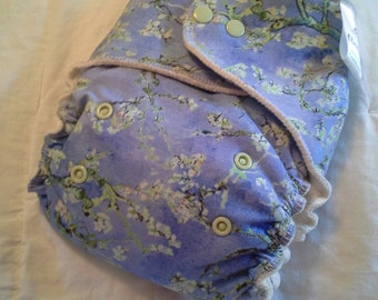 Vintage Blossoms Hemp Bamboo Fleece Fitted Diaper OS