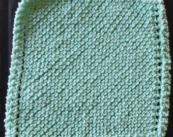 Mint Green Dishcloth, Washable, 100% cotton, Knitted, Long Lasting