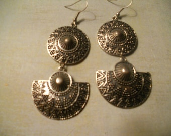 Ethnic Dark Silver-tone Earrings with Spanish or Mexican or Aztec Style or Game of Thrones