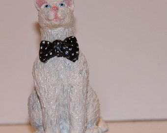 White Cat with poka dot tie, 100% Handmade