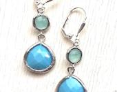 SALE - Small Turquoise BLue Teardrop and Aqua Drop Earrings in Silver. Bridesmaids Jewelry. Glass Drop Earrings. Dangle Earrings. Gift.
