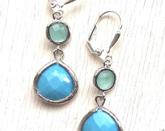 SALE - Small Turquoise BLue Teardrop and Aqua Drop Earrings in Silver. Bridesmaids Jewelry. Glass Drop Earrings. Dangle Earrings. Gift.