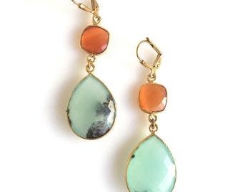 Aqua and Orange Carnelian Gemstone Earrings. Large Gemstone Statement Earrings. Handmade Gemstone Jewerly. Gift.