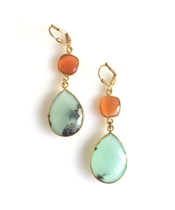 Aqua and Orange Carnelian Gemstone Earrings. Large Gemstone Statement Earrings. Handmade Gemstone Jewerly. Gift.