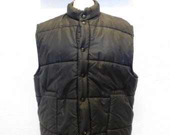 Mens Puffer Vest 1970s Black Winter Outerwear - XL