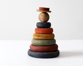 Americana wood stacking toy, vintage stacking rings toy