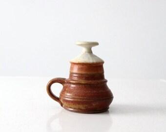SALE Piatt studio pottery oil lamp, vintage ceramic candle
