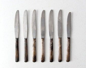 SALE vintage silver plate knife set, collection 7 dinner knives