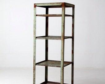 vintage industrial shelf, large green metal shelving rack