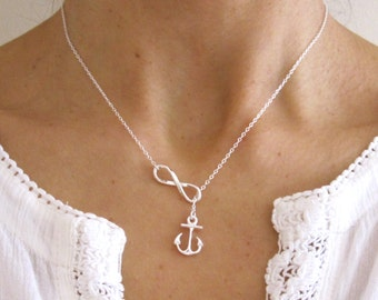 Sterling silver INFINITY ETERNITY ANCHOR lariat necklace, love, hope, friendship necklace
