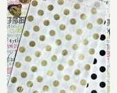 XOXO SALE 50 Gold Metallic and Black Polka Dot Party Favor Bags, Wedding Candy Bags, Popcorn Bags, Gift Bags
