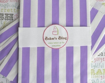 XOXO SALE Paper Bags, 75 Purple Striped Favor Bags (Medium), Purple Paper Bags, Treat Bags, Wedding Striped Candy Bags, Popcorn Bags
