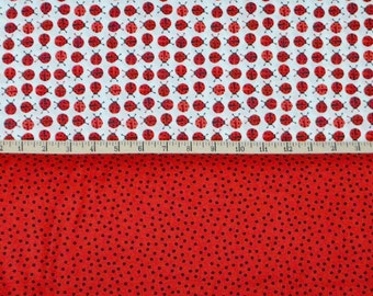 Robert Kaufman. Urban Zoologie Mini Ladybugs Red with Remix Mini Dots Red - Cotton fabric BTY - Choose your cut and fabric