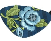 Eye Patch Blue Romance Floral Victorian Steampunk Gothic Pirate Fantasy Fortune Teller