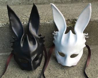 Rabbit mask. EBUNNY leather wearable art mask. Bunny mask.