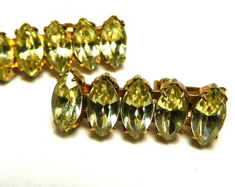 Stunning Yellow Rhinestone Earrings Dangles Mid Century Glamour Exquisite Sparkle