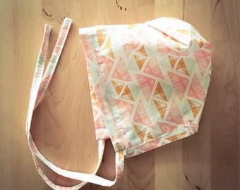 6-12 mo BABY BONNET sun hat girls geometric cotton pilgrim bonnet